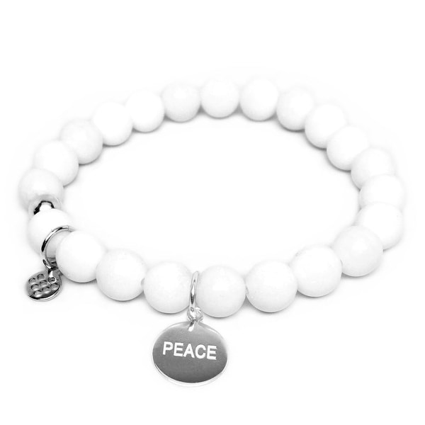 "White Jade Lucy Peace Silver Charm 7"" Bracelet"