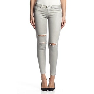 Krista Super Skinny In Destructed Metallic Platinum (Option: 27)