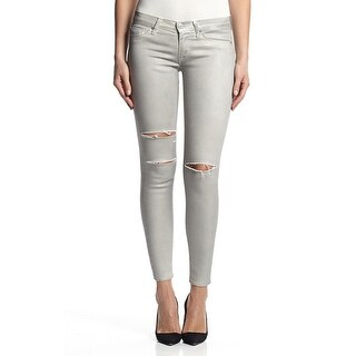 Krista Super Skinny In Destructed Metallic Platinum (3 options available)