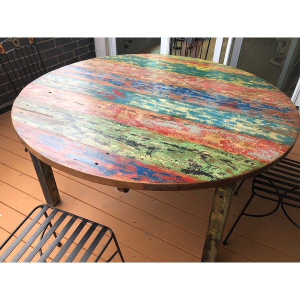 Chic Teak Round Dining Table made from Recycled Teak Wood Boats, 55 inch - Multi. Opens flyout.