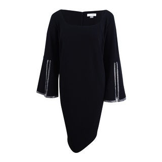 Calvin Klein Women's Plus Size Embellished Split-Sleeve Dress - Black
