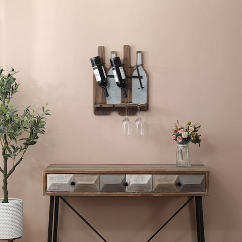MDF and Metal Wine Bottle and Glass Wall Rack