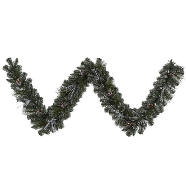 "9' x 10"" Pre-Lit Frosted and Glittered Pine Christmas Garland - Clear Lights"