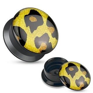 Leopard Print Glitter Top Black Acrylic Screw Fit Stash Plug (Sold Ind.)