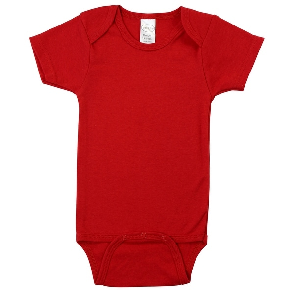 """6"""" Red Small Interlock Short Sleeve Bodysuit Onesies for 6 to 12 Months. Opens flyout."""