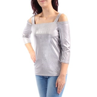 Womens Silver Long Sleeve Square Neck Casual Vest Top Size M