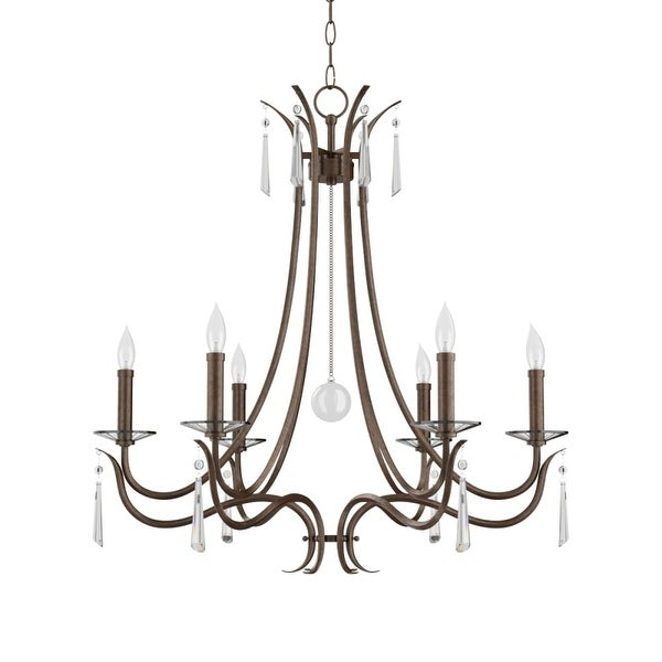 """Park Harbor PHHL6256 28"""" Wide 6 Light Single Tier Candle Style Chandelier with Crystal Accents - Mahogany"""