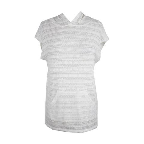 Vince Camuto White Sleeveless Hooded Pullover XXS