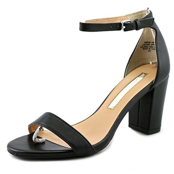 Audrey Brooke Nadine Women Open Toe Leather Black Sandals