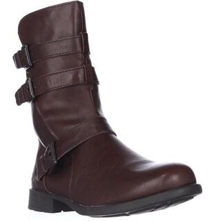 Born Buckley Buckle Strap Mid-Calf Boots - Dark Brown