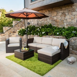 Link to Corvus Trey Outdoor 6-piece  Aluminum Resin Wicker Sofa Set Similar Items in Outdoor Dining Sets