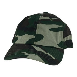Plain Low Unstructured C1163 Cotton Curve Bill Adjustable Strapback Dad Cap - Woodland Camo