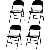 Costway Set of 4 Folding Chairs Steel Frame Heavy Duty Armless Home Office Black - Set of 4