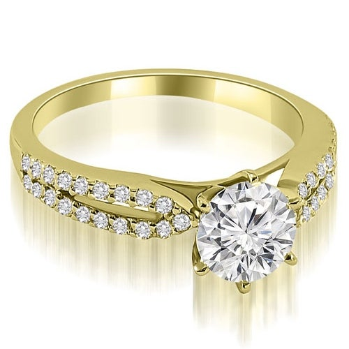 1.05 cttw. 14K Yellow Gold Cathedral Split Shank Round Diamond Engagement Ring