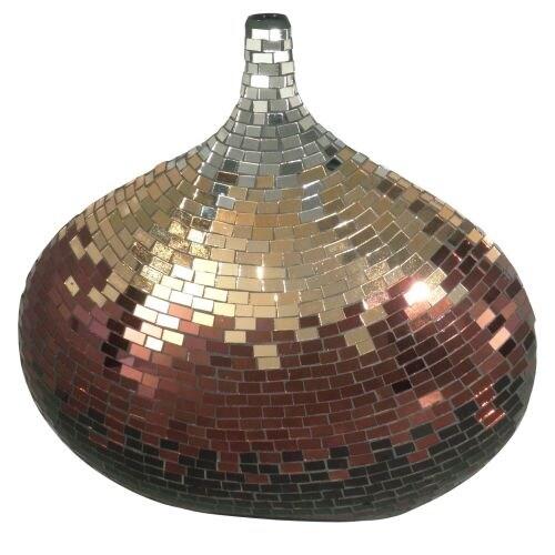 Dale Tiffany AV10722 Metallic Mosaic Decorative Vase with Hand Blown Art Glass Mosaic