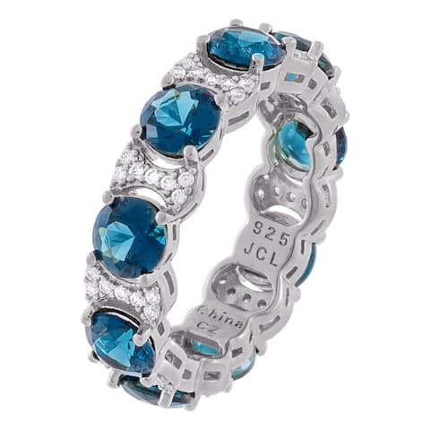 Round Dark Blue Color Cubic Zirconia Eternity Band, Sterling Silver