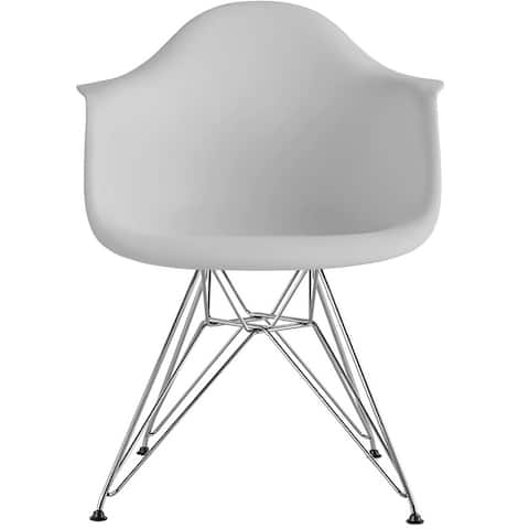 Modern Plastic Chair Armchair with Arms Wired Chrome Dining Kitchen Desk Work Home Office