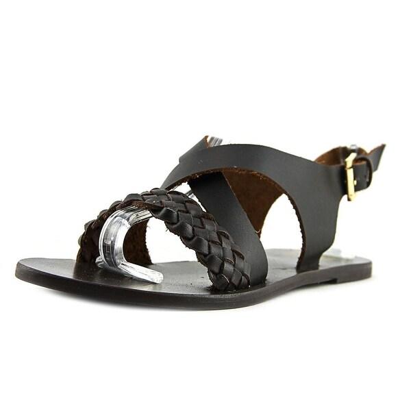 29 Porter Rd Hanna Women Open Toe Leather Brown Slides Sandal