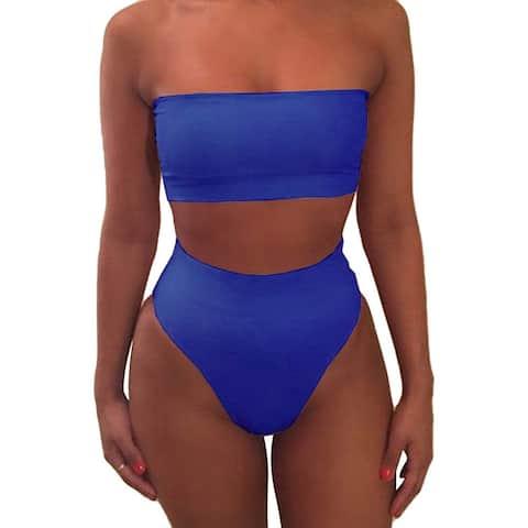 Pink Queen Women's Remove Strap Pad Bikini Set Swimsuit Sky Blue XL - X-Large