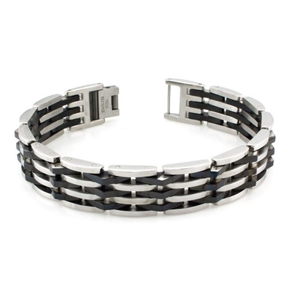 Stainless Steel Two-Tone Biker Bracelet - 8.5 inches