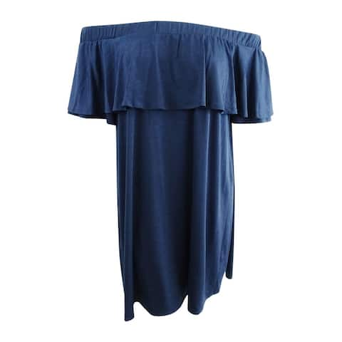 Rachel Rachel Roy Women's Plus Size Ruffled Scuba Cold-Shoulder Dress (1X, Navy) - Navy - 1X