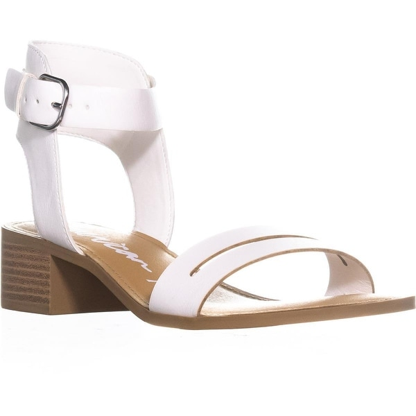 AR35 Alecta Ankle Strap Block Heel Sandals, White - 7.5 us