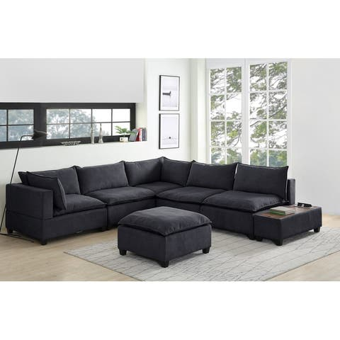 Madison Down Feather Modular Sectional Sofa w/ USB Storage Console Table