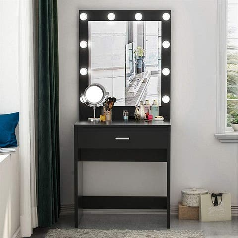 Vanity Set with Lighted Mirror and Drawer, 10 Cool LED Bulbs