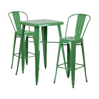 Offex Green Metal Indoor-Outdoor Bar Table Set With 2 Barstools