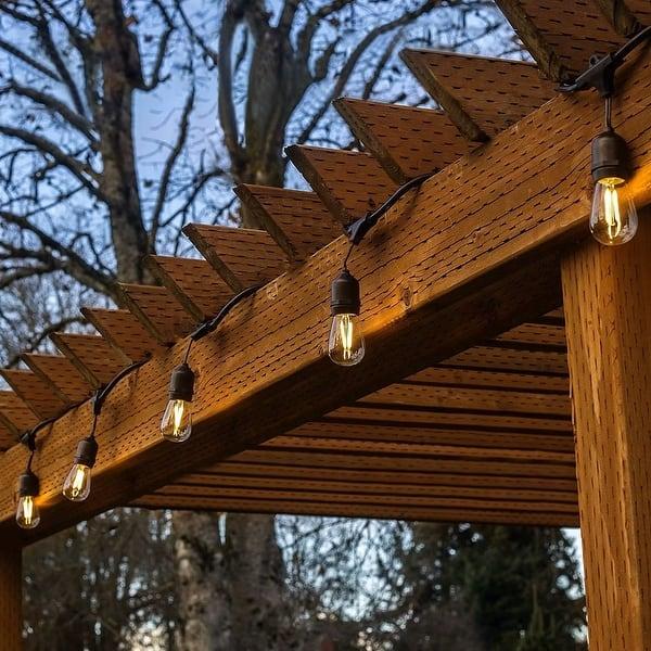 48ft 15 Led Outdoor Patio String Lights 2700k Soft White 1 Overstock 28553870