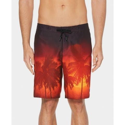Perry Ellis Mens Purple Size XL Palm Tree Ombre Print Board Shorts