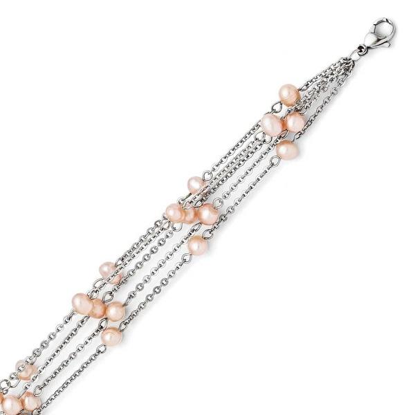 Chisel Stainless Steel 4 Strand Freshwater Cultured Pearl Bracelet