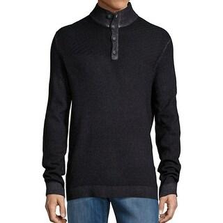 STRELLSON NEW Black Mens Size Medium M Henley Mock Neck Sweater