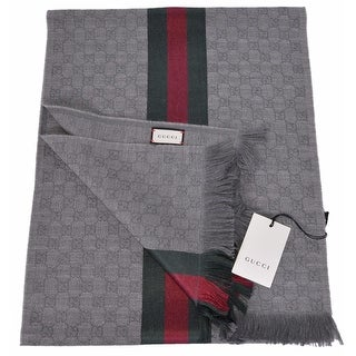 "Gucci Men's 147351 Grey GG Guccissima Red Green Stripe Wool Scarf Muffler - 70"" x 14.5"""