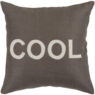 """22"""" Charcoal Gray and White """"COOL"""" Text Decorative Throw Pillow"""