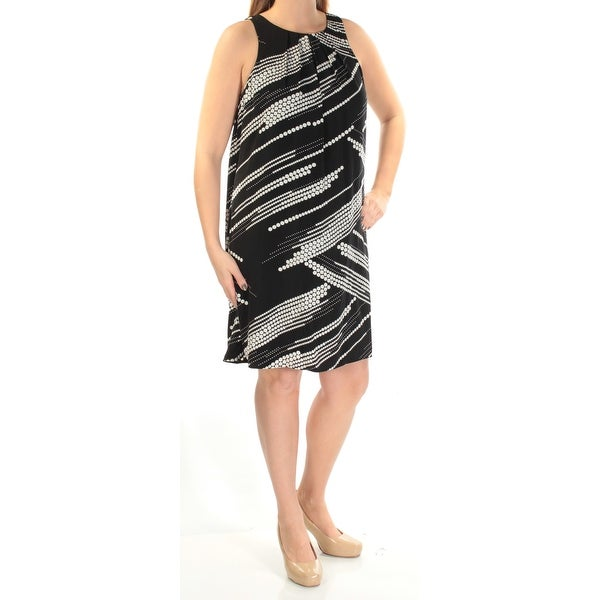 Shop Womens Black Polka Dot Sleeveless Above The Knee Shift Dress