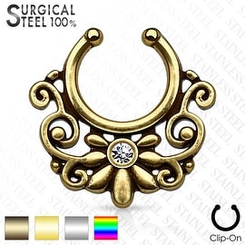 316L Surgical Steel Fake Septum Hanger Triabl Floral Fan with Crystal Center (Sold Ind.)