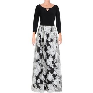 Alex Evenings Womens Plus Evening Dress Embellished Floral Print