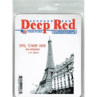 Deep Red Stamps Eiffel Tower View Rubber Cling Stamp - 2.6 x 3.5