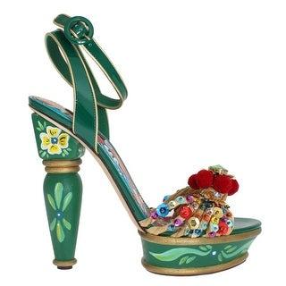 Dolce & Gabbana Green Leather Crystal Carretto Platform Shoes - eu39-us8-5