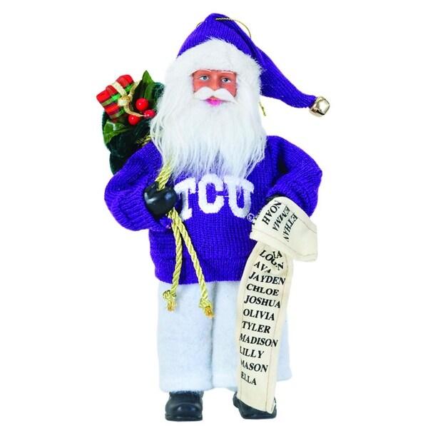 "9"" NCAA TCU Horned Frogs Santa Claus with Good List Christmas Ornament - PURPLE"