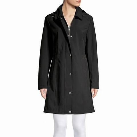 Calvin Klein Women's Coat Black Size Large L A-Line Rain Snap Zip