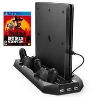 AGPtek Vertical Stand for PS4 Slim / PS4 Cooling Fan Dual Controller Charging Station 3 Extra USB Port