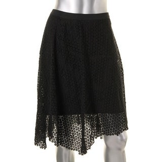 Elie Tahari Womens Rosetta Lace KNee-Length Asymmetrical Skirt - M