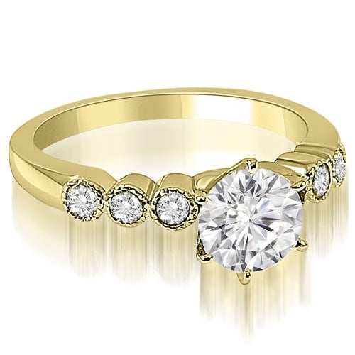 0.70 cttw. 14K Yellow Gold Vintage Style Milgrain Round Diamond Engagement Ring