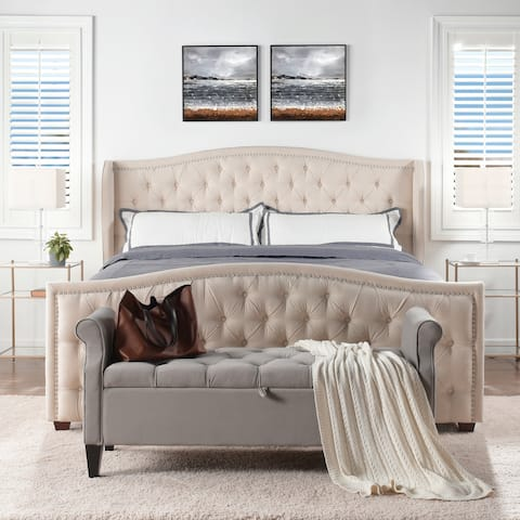 Athens Upholstered Tufted Wingback Bed by Jennifer Taylor Home