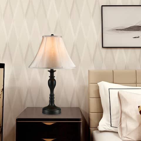Cedar Hill 20-In Dark Bronze Table Lamp with Fabric Shade
