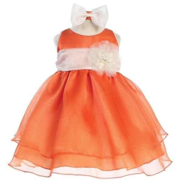 ef586216c4f70 Baby Girls Orange Ivory Sash Organza Flower Girl Dress 6-24M