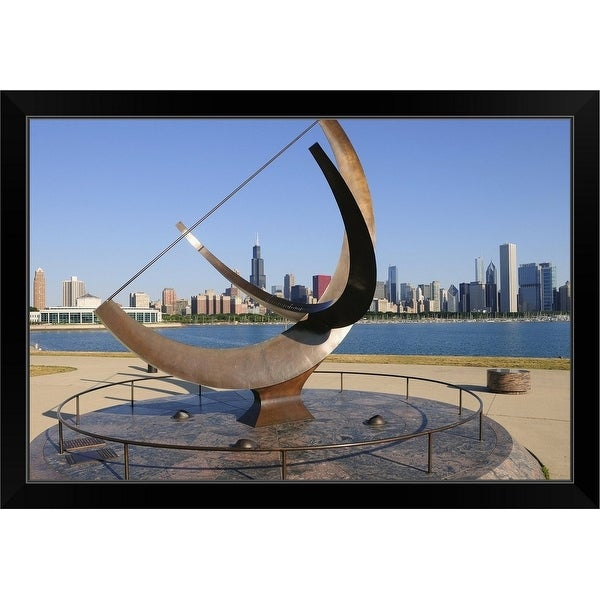 """""""'Man Enters the Cosmos' near the eastern end of the museum campus, Chicago, Illinois"""" Black Framed Print"""