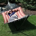 Sunnydaze 2-Person Quilted Hammock with Spreader Bars and Detachable Pillow - Hammock Stand Included - Thumbnail 43